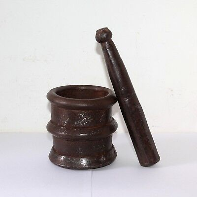 Old 1900's Rare Antique Beautiful Cast Iron Kitchen Spice Pestle Mortar #666