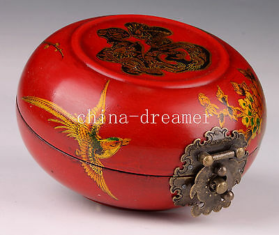 China Decorative Wood Leather Jewelry Box Collection Chinese Flower Bird