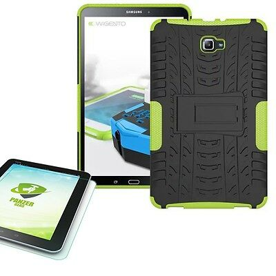 Hybrid Outdoor Bag Green for Samsung Galaxy Tab a 10.1 T580 +0.4 Tempered Glass