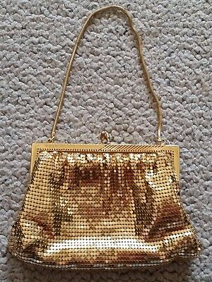 Genuine vintage Glomesh style gold mesh evening bag excellent condition