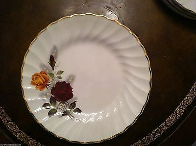 Myott Ironstone- Red & Yellow Rose Pattern Dessert Plates England Set 4  Euc!!