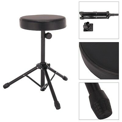 Folding Music Guitar Keyboard Drum Stool & Throne Piano Chair Double Padded Seat