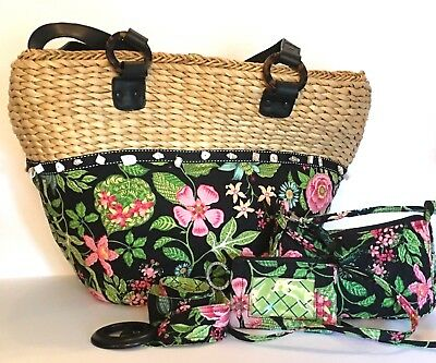 Vera Bradley Botanica Straw Tote Beach Bag with Belt, ID Tag and Shoulder Purse