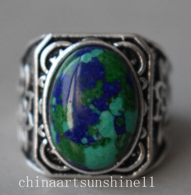 Exquisite China Collectible Handmade Silver Inlay Turquoise Ring