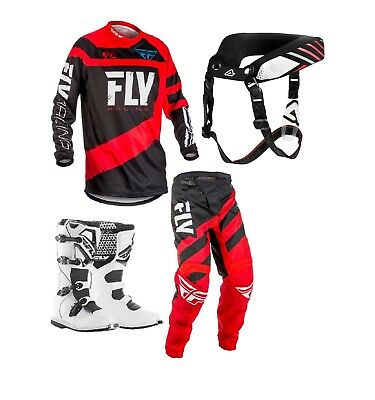 New Kids Youth Fly F16 Jersey Pant Kit & Fly Boots Neck Collar Red Black Xmas