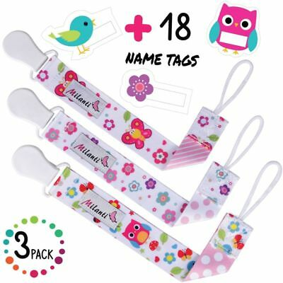 3 Pack Pacifier Clip For Girls + 18 Name Tag Labels Teething Toy Holder