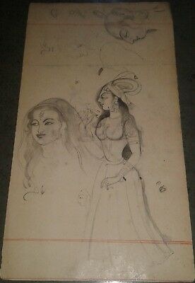 India Old Fine Interesting Beautiful Handmade Both Side Sketches Of Ladies.