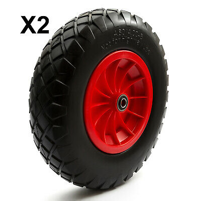 2 x PU 16'' 4.80-8 4.00-8 Tyre 8'' Wheel Puncture Proof & Solid Wheelbarrow Cart