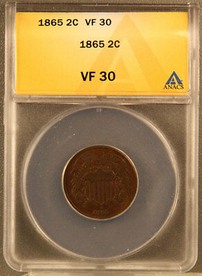 1865 Two Cent Piece ANACS certified VF 30