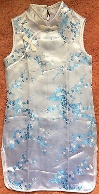 Traditional CHEONG-SAM Asian Dress Toddler Size M - Blue Floral