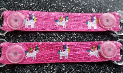 Elasticated ribbon HOT PINK UNICORN mitten clips gloves No more lost gloves New