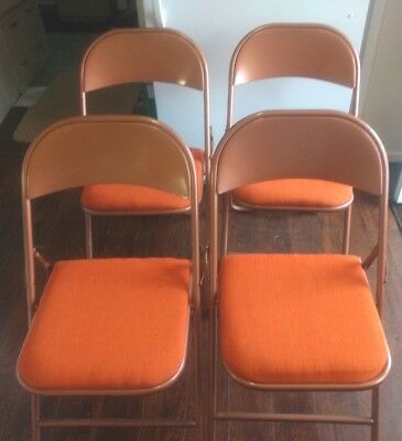 4 Vintage SEARS Fold-Up Metal & Vinyl Card Table Chairs - Copper Finish & Orange