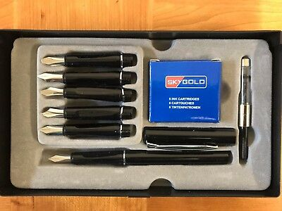 New SkyGold Calligraphy Fountain Pen 6 Silver Nib And Cartridges Fast Delivery
