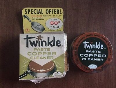 Vintage TWINKLE Paste Copper Cleaner with box, tin lid with glass jar
