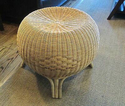 Vintage Round Wicker Bamboo Legs Occasional Chair Seat 70's Modern Look