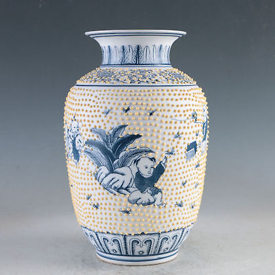 China Porcelain Hand-Painted Children Vase Made During The DaQing QianlongHP0060