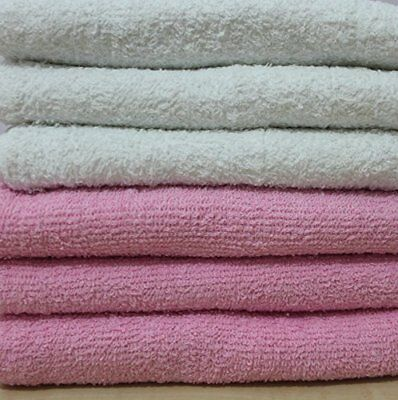 DUDU N GIRLIE Baby Terry Toweling 100  Cotton Nappies, White   Pink, 6 Piece