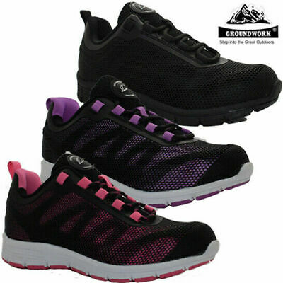 Ladies Ultra Light-Weight Steel Toe Cap Trainers Safety Womens Lace Up Work Shoe