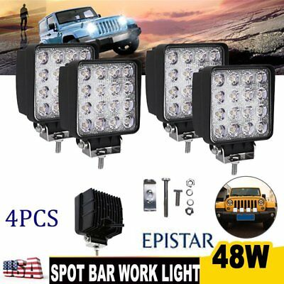 4pcs 48W Spot LED Work Lights Lamp Offroad Driving Fog Tractor Car SUV Truck ATV