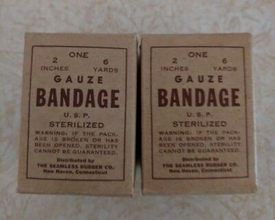 Vintage lot of 2 Gauze Bandage by Seamless Rubber CO. New in box