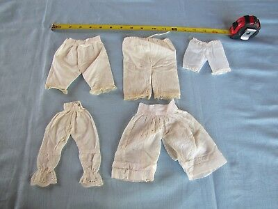 Lot Of Five Antique Doll Pantaloons For French Or German Dolls