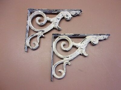 """Antique Victorian Cast Iron Shelf Bracket Pair Old White Paint 8"""" by 6 1/4"""" NICE"""