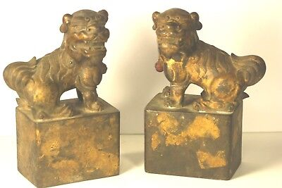 Antique Pair Of Rare Bronze Qing Dynisty Foo Fu Dogs Figure Imperial Seal Stamp