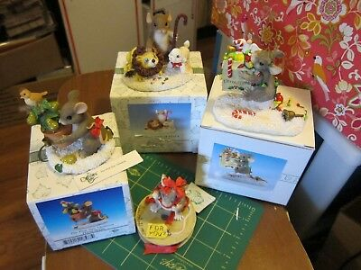 Lot of Charming Tails Mice Holiday Christmas 3 in Boxes 1 no box, See pictures!!