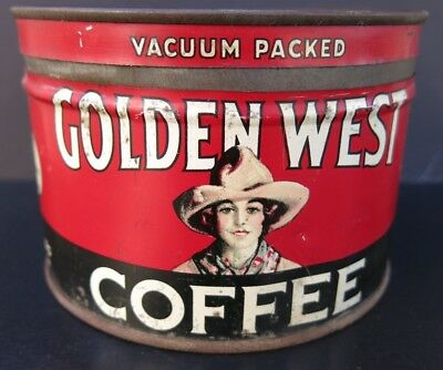 Vintage Golden West Key Wind 1 Pound Coffee Tin -Early Cowgirl
