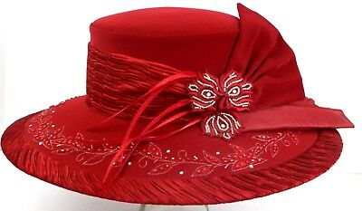 Red Hat Church Wedding Ben Marc Flowers Bead Rhinestones Kentucky Derby