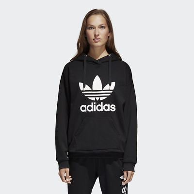 Women's Adidas Originals Trefoil Hoodie Black/White [Z]BP9482