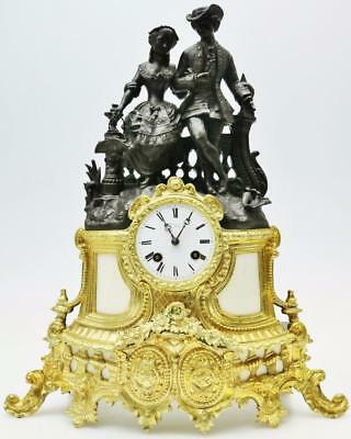 Antique French 8 Day 2 Tone Bronze & White Marble Classical Figural Mantle Clock