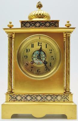 Fantastic Antique 19thc French 8 Day Bronze & Champleve Enamel Cube Mantel Clock