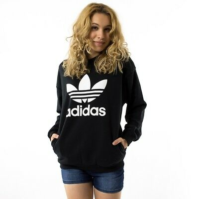 Women's Adidas Originals Trefoil Sweatshirt Black [Z]BP9494