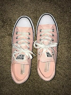 Converse Chuck Taylor Peach Pink Pearl waffle texture women's sneakers SZ 8.5