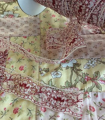 Vintage red and cream lace 1yd