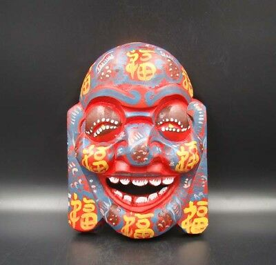 """Handmade Carving colored drawing wood Mask Smiling Face Buddha 7.48"""""""