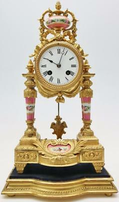 Antique French 8 Day Gilt Metal & 6 Pink Sevres Porcelain Portico Mantle Clock