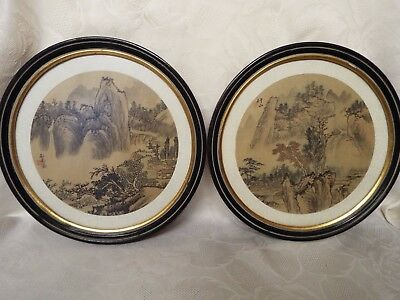 Pair of Framed & Signed Antique Japanese Paintings Drawings