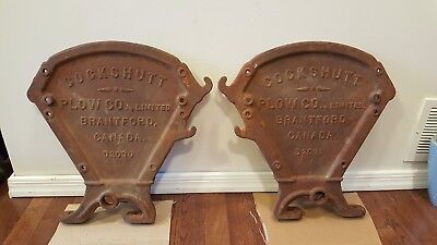 Pair Antique Cast Iron Metal Cockshutt Plow Seed Box End Panel Tractor Brantford