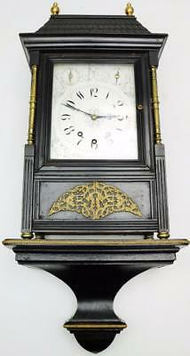 Antique English Carved Ebony Triple Train Musical 8Bell Bracket Clock On Bracket