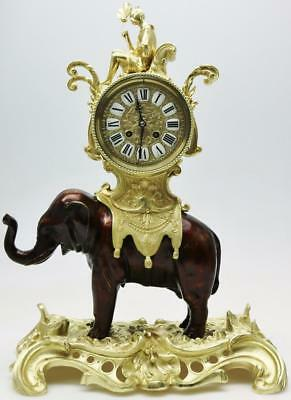 Rare Exceptional Antique French Patinated Bronze Ormolu Elephant Mantle Clock