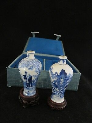 ANTIQUE ASIAN CHINESE  BLUE & WHITE MINiATURE VASES AND BOX 4 CHARACTER MARKING