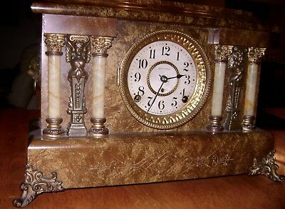 Antique Seth Thomas Adamantine 8 day Mantel Shelf Clock Good Working Condition