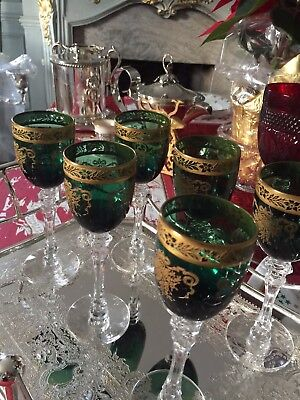 Antique French Hand-painted Etched & Gilded Green Wine Glasses-6
