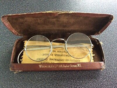 Vintage Silver Coloured Rimmed Spectacles in Original Case