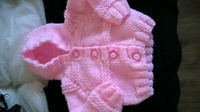 Gorgeous Pink Hand Knitted Baby Girls Hooded Cardigan 0-3 Months