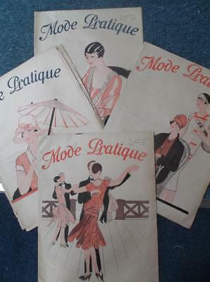 Lot of 4 French sewing clothes vintage art deco 1920s flapper fashion magazines