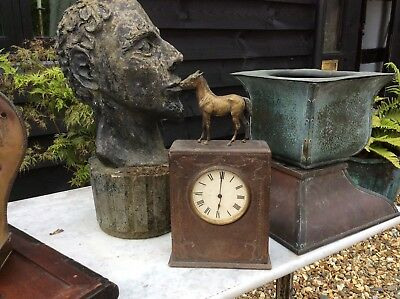 Antique Victorian Leather And Brass Mantle Clock Horses Carriage For Restoration