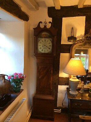 Victorian Long Case Clock W Feltham Harleston Working Order Grandfather Clock